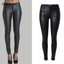 Dower Me Tight PU Coating Imitate Leather Trousers 2019 Fashion Fake Zippers Womens Plants Low-waist Elastic Pencil Pants KZ009