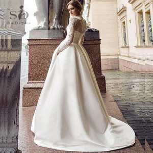 SoDigne July Wedding dress 2020 Long Sleeves A Line Satin Wedding Gown with Train Lace Appliques Boho Bride Dresses