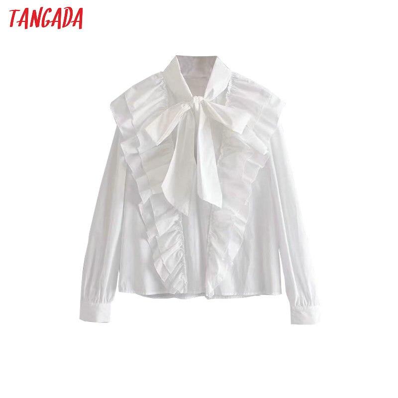 Tangada femmes volants chemises blanches coton à manches longues solide noeud papillon cou élégant bureau dames travail porter blouses 3H323