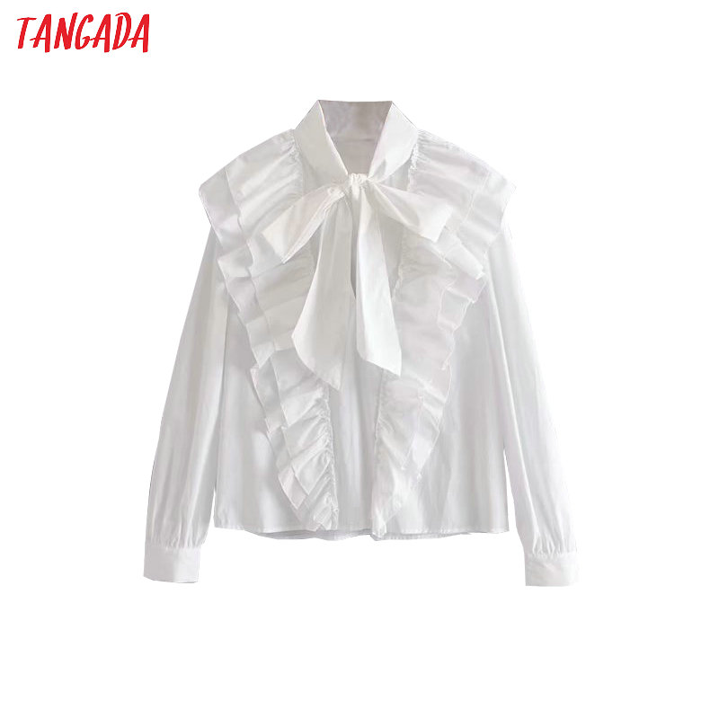Tangada Women Ruffle White Shirts Cotton Long Sleeve Solid Bow Tie Neck Elegant Office Ladies Work Wear Blouses 3H323