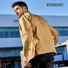 Coat Kuegou Windbreaker Printing Men's Fashion Winter Brand Lapel BF-6905 Leisure Handsome