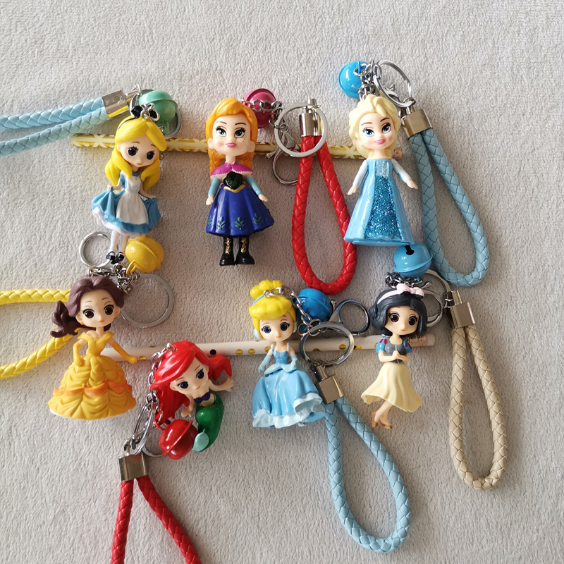 Cartoon Keychain Pendant Sophia Elsa Anna Princess Mermaid Doll Accesorios Bag Pendant Model Girl Pendant Accessories Random 1PC