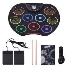 Прямая поставка-набор электронных ударных барабанных барабанов, набор 9 силиконовых барабанных подушечек USB/на батарейках, барабанные палочки, ножные педали для детей K