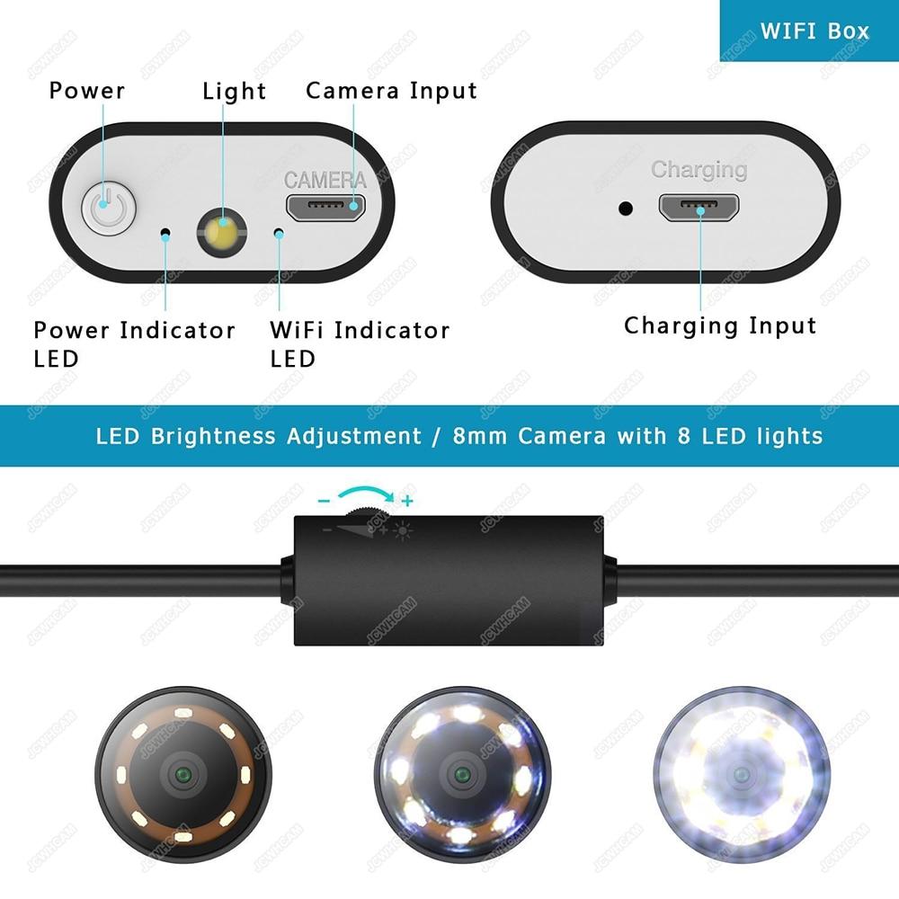 Image 3 - 8mm Telescoping Wifi Endoscope Camera 1080P HD Semi Rigid Snake Camera USB Endoscope Borescope IOS Endoscope for Iphone TabletSurveillance Cameras   -