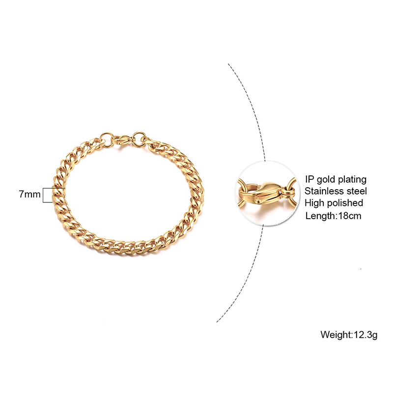 Men's Bracelet Curb Cuban Link Chain Stainless Steel Mens Womens Bracelets Bangle Gold Tone No Fade 3mm to 11mm 2