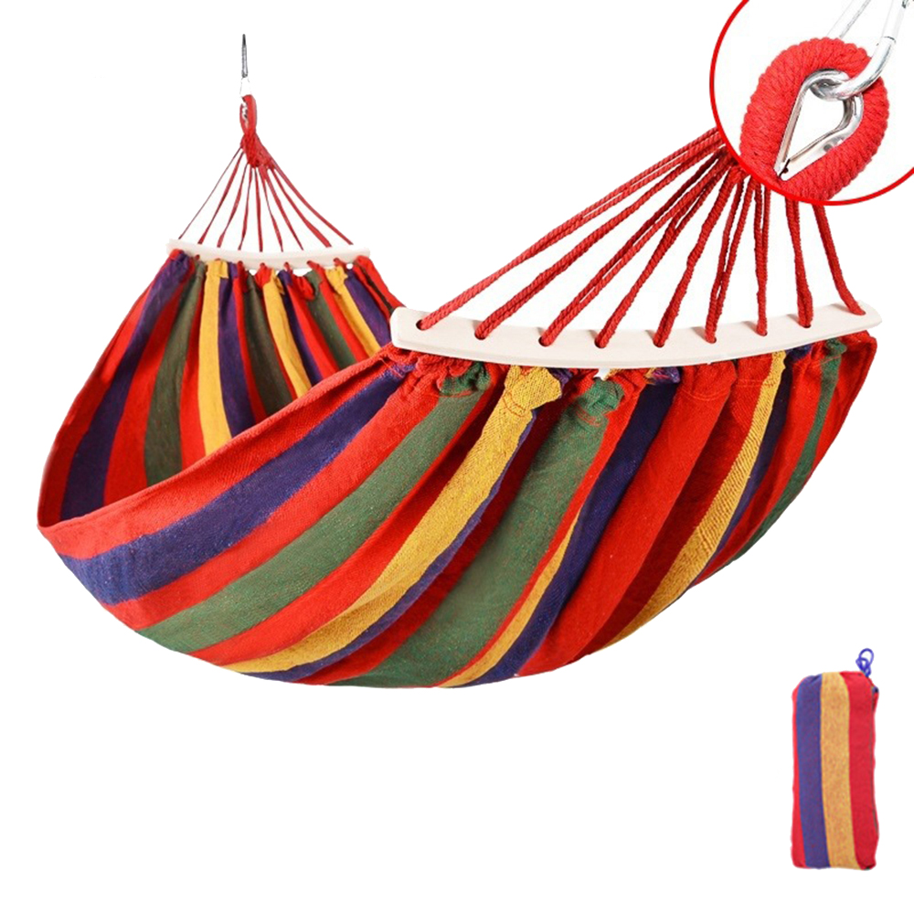 HooRu Portable Canvas Hammock Travelling Outdoor Picnic Wooden Swing Chair Camping Hanging Bed Garden Furniture With Backpack