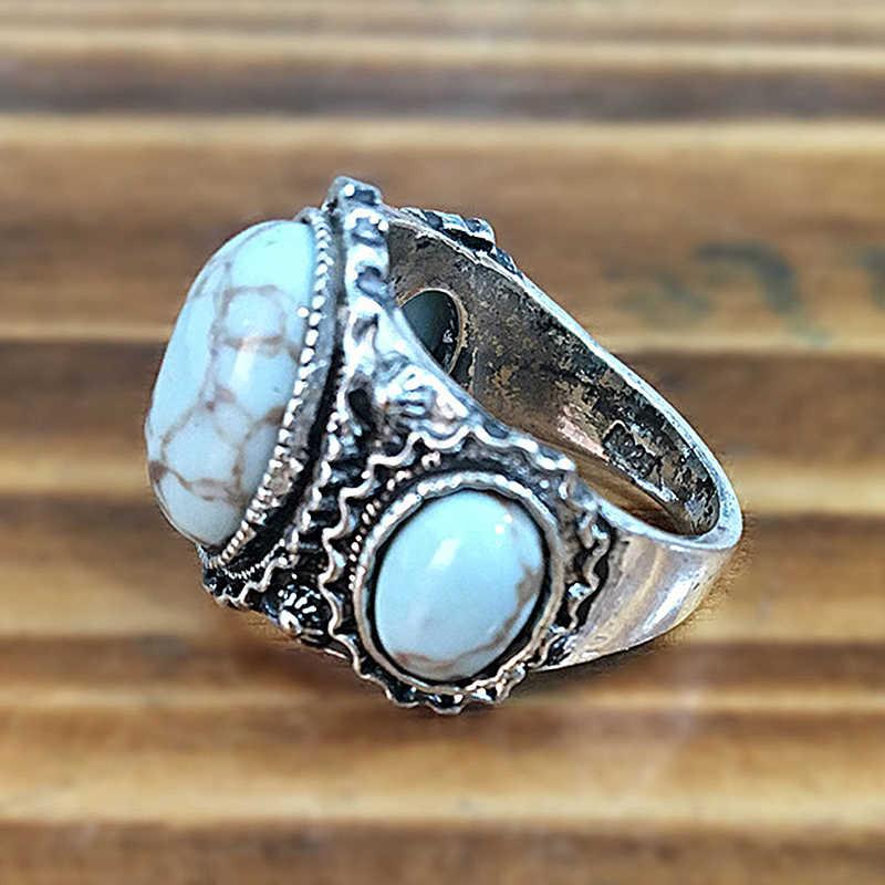Anéis de casamento vintage para as mulheres antigo anel de prata dos homens grande três anel de pedra retro jóias presentes anel feminino anillos c5q706