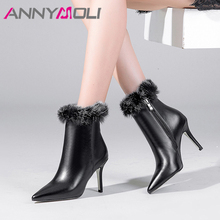 ANNYMOLI Winter Ankle Boots Women Natural Genuine Leather Stiletto High Heel Short Boots Fur Zipper Shoes Female Fall Size 34-39 цены онлайн