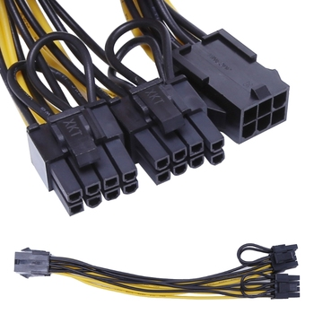 PCI-E 6Pin Female to Dual 2-Port 8Pin (6+2Pin) Male Video Card Power Adapter Extension Cable image
