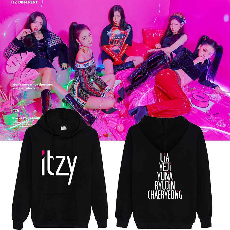 Nieuwe Mode Kpop Mixnine Itzy Yuna Ryujin Chaeryeong Lia Yeji Hooded Sweatshirt Lange Mouwen Tops Truien Hoodies Dropship