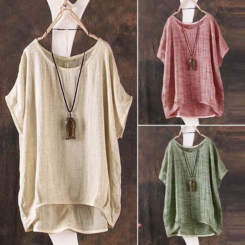Boho Summer T-shirt Women Cotton Linen O Neck Short Sleeve T-shirt Short Sleeve Loose Casual Solid Comfort Tee Tops