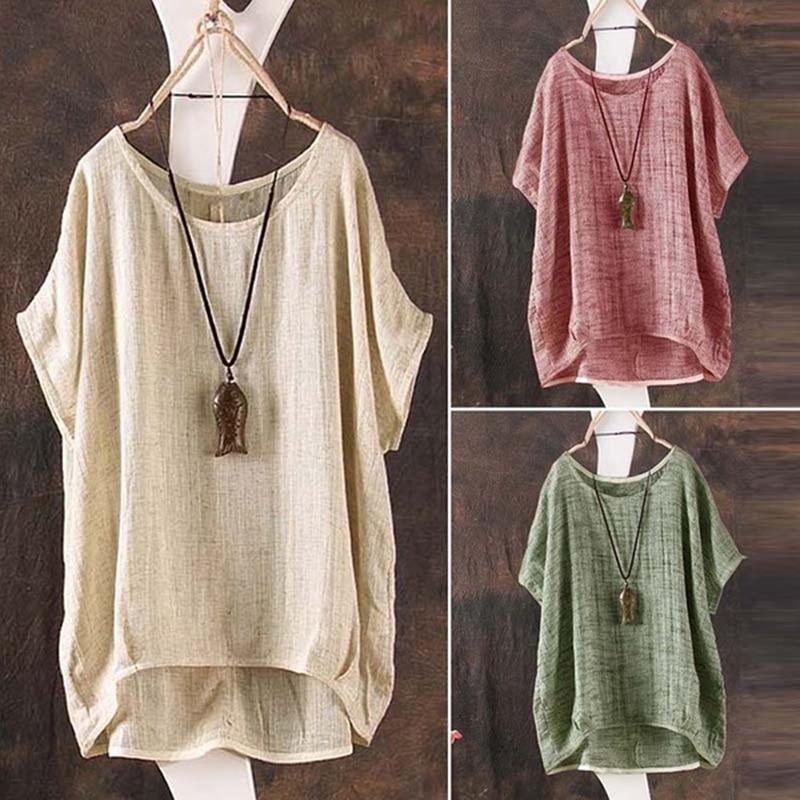 Boho Summer T-shirt Women Cotton Linen O Neck Short Sleeve T-shirt Short Sleeve Loose Casual Solid Comfort Tee Tops