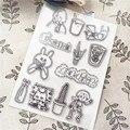 11x16 см продажа милый кролик прозрачное уплотнение прозрачные штампы силиконовый валик для запечатывания штампов DIY альбом для скрапбукинга...
