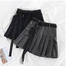 Womens Streetwear Tooling Half-length Pleated Skirt Safari Black Short Skirt Fashion High Waist Women Skirts