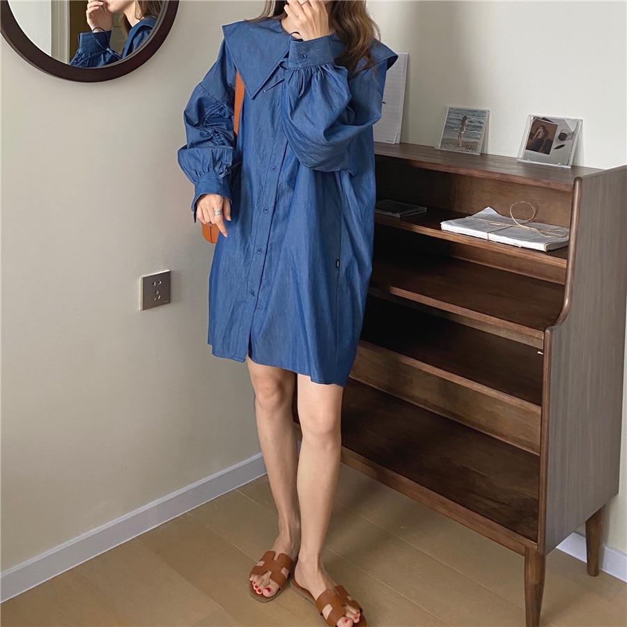 Hb07d6887b9a34a1b85e12cb5b44fd974J - Autumn Korean Big Lapel Collar Long Sleeves Drawstrings Solid Mini Dress