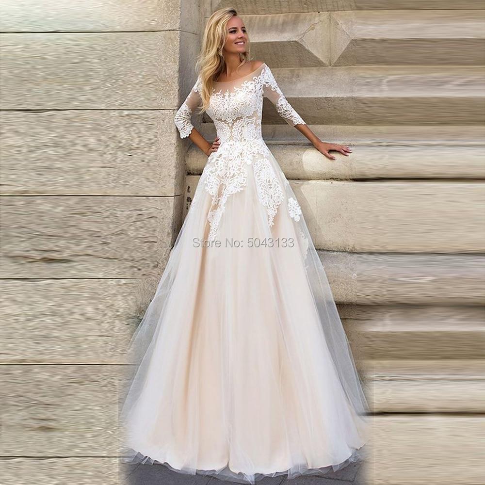 Romantic Lace Appliques Country Wedding Dresses 2020 Elegant Long Sleeves Plus Size Bridal Dress Champagne Boho Wedding Gowns
