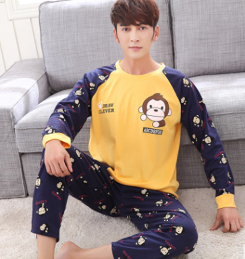 Men Pajama Set Spring And Autumn Long Sleeve Cotton Man Pyjamas Cartoon Stripe Pajamas Plus Size Casual Sleepwear