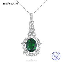 Shipei 100% 925 Sterling Silver Fine Jewelry Oval Emerald Sapphire Ruby Aquarius Pendant Necklace for Women Birthday Gift цена