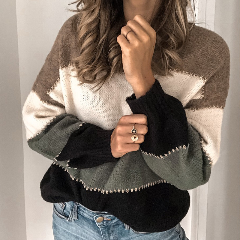 VIEUNSTA Fashion Patchwork O-neck Autumn Winter Sweater 19 Women Long Sleeve Warm Knitted Sweaters Pullover Female Tops Jumper 8