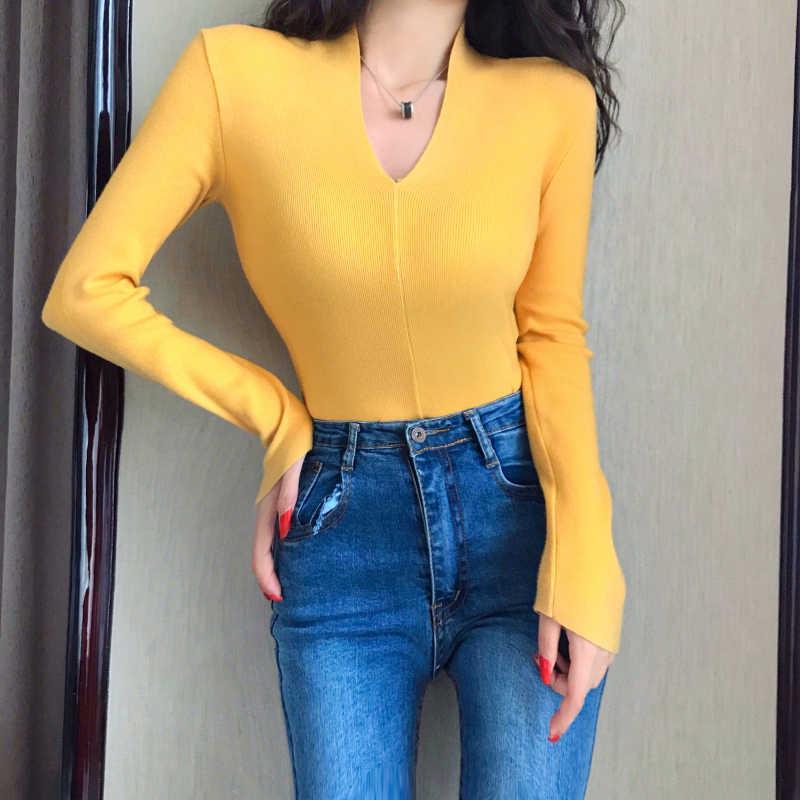 Áo Len Nữ Mềm Mại Phong Cách Hàn Quốc Skinny Mùa Đông Chữ V Gợi Cảm Nữ Cơ Bản Độ Đàn Hồi Áo Thun Dài Tay Kéo Femme Nữ Cao