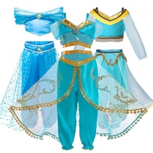 3-10Yrs Baby Girls Cinderella Party Princess Dresses Cotton Aladdin lamp Jasmine princess dress grinch christmas