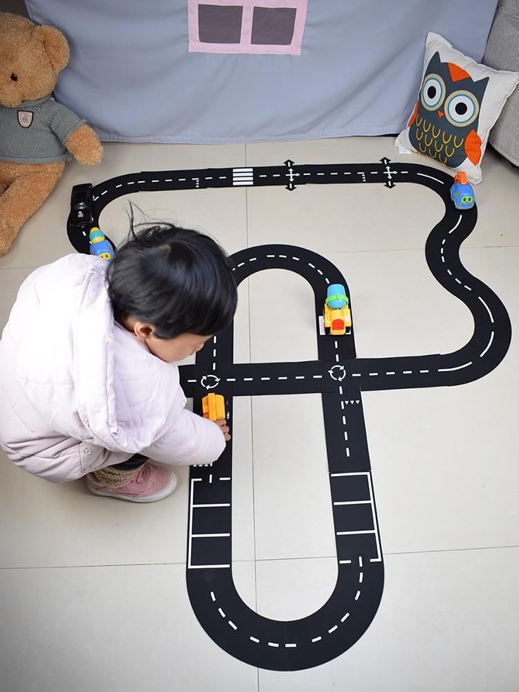 Crianças construção de estrada estrada carro brinquedo tráfego estrada flexível pvc quebra-cabeças pista jogo conjunto diy acessórios universais cena do jogo
