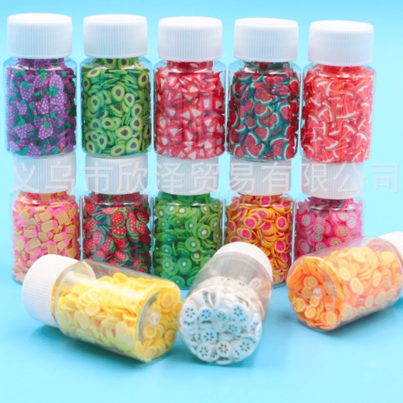 20ML Bottled Fimo Fruit Slices for Slime Cute 5MM Kawaii Avocado Pitaya Grape Fluffy Mud Clay Soft Pottery Chips
