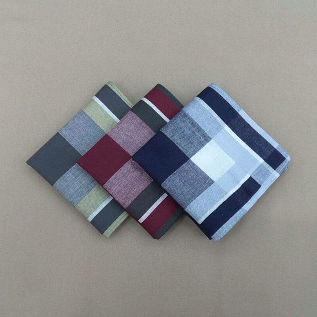 12pcs Men Classic Vintage Pocket Cotton Towel Square Plaid Stripe Handkerchiefs For Wedding Party