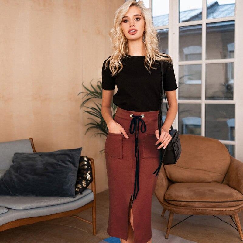 Women Casual Pockets Split Bandage Skirt Long Skirt Party Club 2019 Sexy Elegant Slim Fashion High Elasticity Vintage