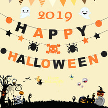 Taoup Horror Skull Pumpkin Halloween Banners Fabric Scary Garland Decor 2019 Party Accessories Props Flags and