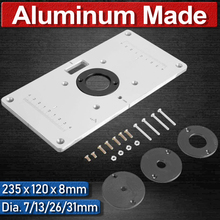 Aluminum Router Universal Table For Woodworking Benches Wood Trimmer Plate 235 x 120 x 8mm Ring Trimmer Plate Insert Plate
