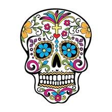 DAWASAKA  waterproof  Custom Sunscreen MEXICAN SUGAR SKULL Reflective Car Sticker Car Window Motorcycle Parts 10CM*13CM 6zstickers sugar skulls reflective stickers decals waterproof sunscreen motogp x15