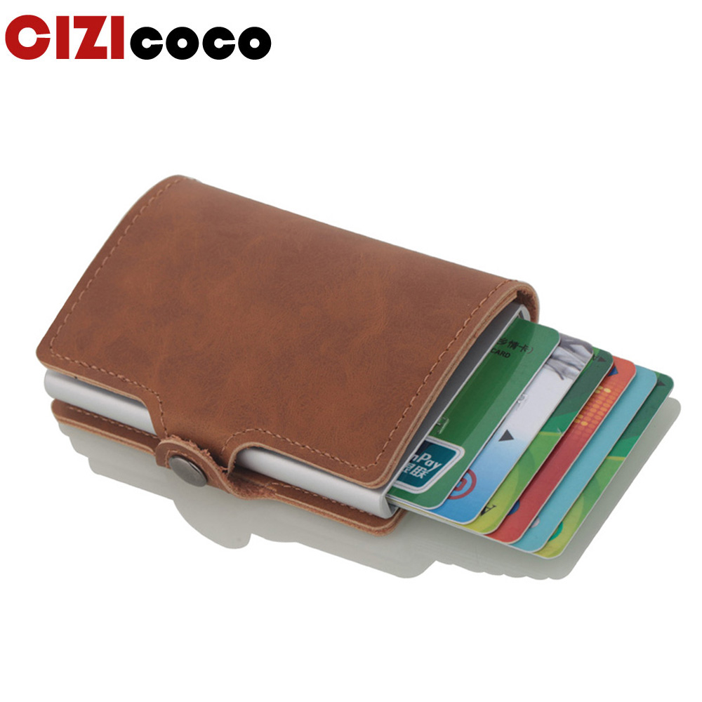 Cizicoco 2019 New HASP Card Holder Business Men Credit Anti-theft Case Automatical Aluminium Bank Wallets