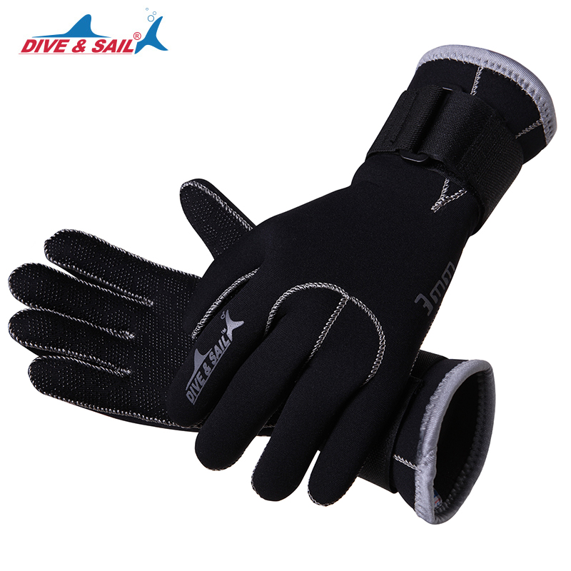 DIVE&SAIL 3mm Neoprene Scuba Dive Gloves With Wristband Winter Keep Warm Swimming Spearfishing Snorkeling Anti-scratch Equipment