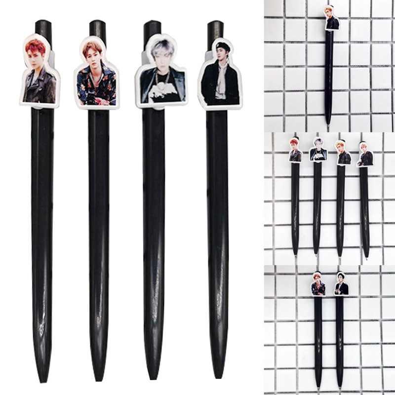 1 Pcs Kawaii K-POP EXO SEHUN BAEKHYUN שימים תמונה כדורי עט כדורי עיתונות עט בית ספר משרד אספקת עבור Fnas מתנה