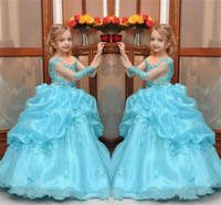 Vintage Cinderella Flower Girls Dresses Baby Infant Girls Clothes With Long Sleeves Ball Gowns Kids Birthday Party Dress