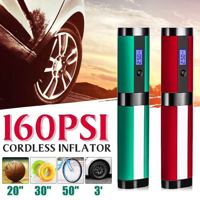 12V 160PSI Cordless Handheld Inflatable Pump Car Tyre Air Inflator Digital Rechargeable For Auto Emergency Motorcycle LED Light