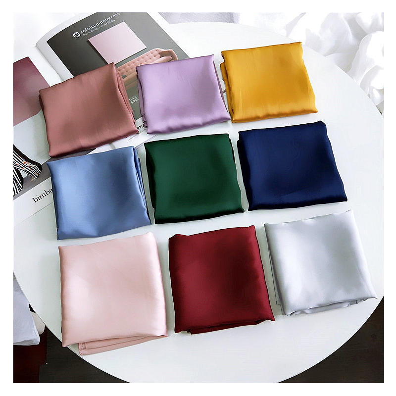 Solid Color Plain Kerchief <font><b>Silk</b></font> Satin Hair <font><b>Scarf</b></font> For Women Handkerchief Small Neck Scarfs Female <font><b>70cm</b></font> Headband Scaves For Ladies image