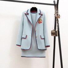 Новинка, зимний высококачественный Женский комплект из 2 предметов, вишневая куртка-пальто с вышивкой+ платье-жилет, элегантное модное офисное платье, 2 комплекта