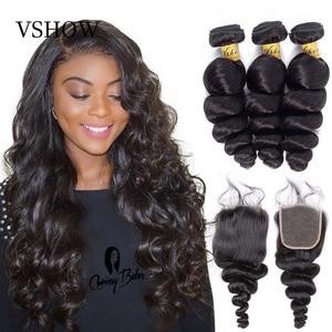 VSHOW Brazilian Loose Wave Hair Bundles With Closure Remy Human Hair 3 Bundles With Closure Loose Wave Bundles With Closure(China)