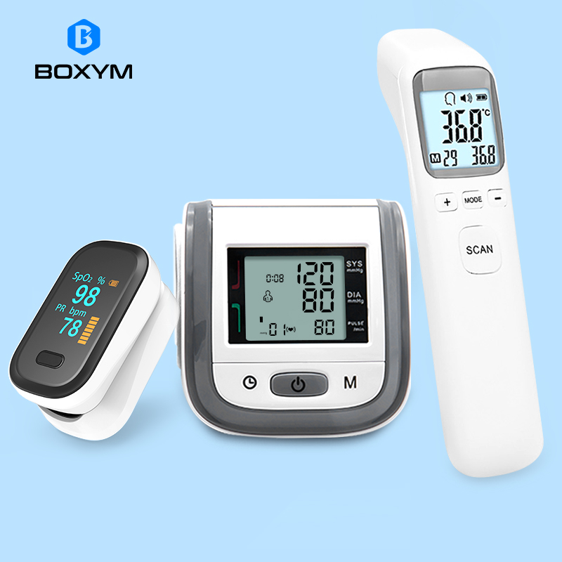BOXYM Fingertip Pulse Oximeter & LCD Wrist Blood Pressure Monitor & Infrared Thermometer Family Health Care Travel Packages