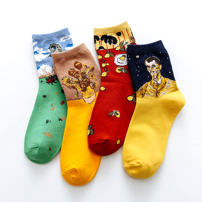 Street Fashion Van Gogh Sunflower Funny Winter Retro Oil Paint Female Cotton Socks Warm Short Art Abstract Happy Women Socks
