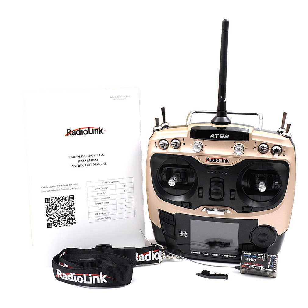 Radiolink AT9S 2.4G 9CH RC System Transmitter, AT9S Remote Controller with R9DS Receiver Neutral Plastic image