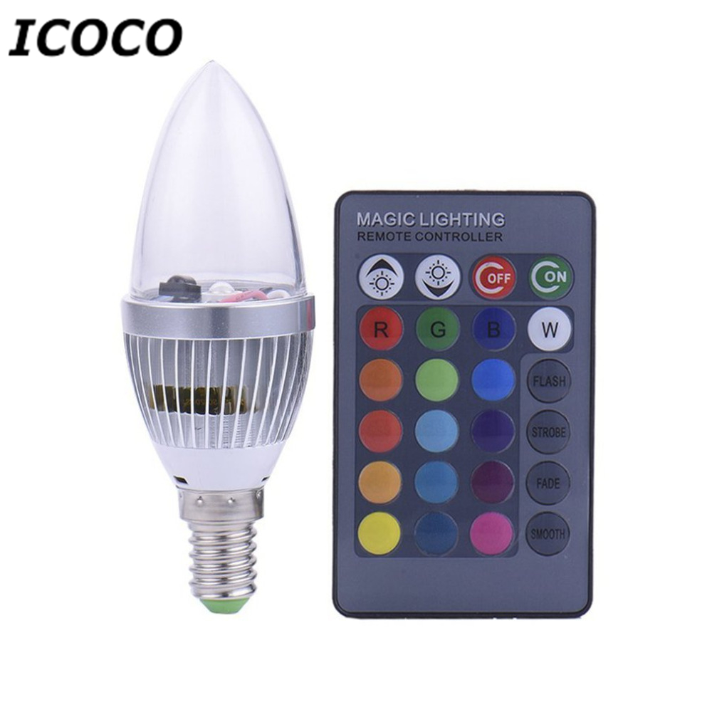 ICOCO 3W Electronic RGB LED Candles Light Remote Controller Light Bulb Colorful Candle Lamp For Christmas Party Wedding Decor