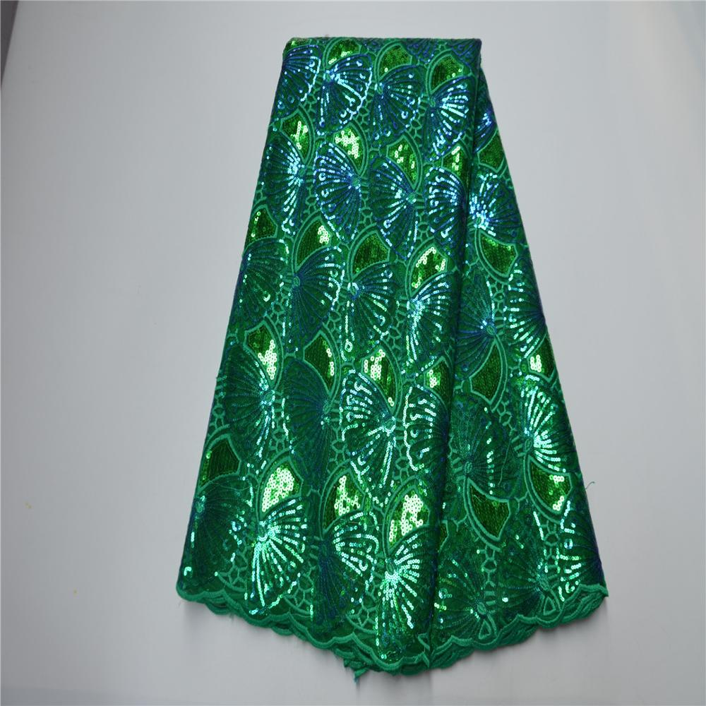 2020 High Quality African Sequins Lace Fabric Green French Net Embroidery Tulle Lace Fabric For Nigerian Wedding Party Dress