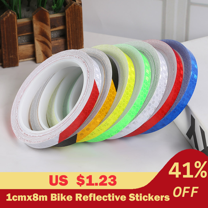 1cmx8m Bike Reflective Stickers Cycling Fluorescent Reflective Tape MTB Bicycle Adhesive Tape Safety Decor Sticker Accessories