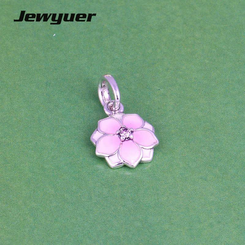 Emalia Magnolia Bloom dangle Charms 925 srebro różowe emaliowane koraliki dopasowany wisiorek bransoletka DIY do tworzenia biżuterii Memnon DA193
