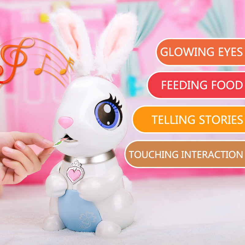 Kids Pretend Food Eating Music Storyteller Electronic Robot Toys Funny Hungry Bunnies Interactive Robotic Rabbit Toys Gifts