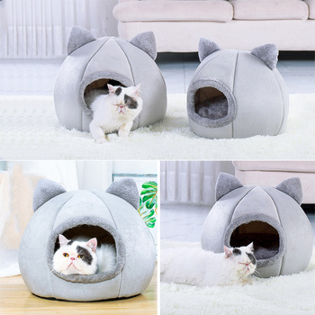 Dog Cat Tent House Kennel Winter Warm Cat Bed Nest Soft Foldable Sleeping Pad Animal Puppy Cave Sleeping Mat Nest Pet Supply pet house bed tent cat nest folding villa dog kennel indoor warm sleeping mat soft yurt winter puppy cave sofa pet supplies