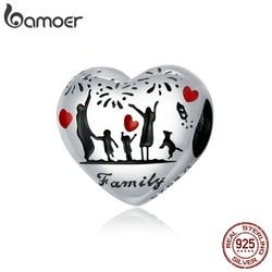 bamoer Real 925 Sterling Silver Thanksgiving Family Charm for Bracelet Bangle DIY Jewelry Handmade Bijoux SCC1634